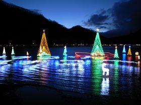 湖面に輝く榛名湖イルミネーションを見た後は、伊香保温泉で温まろう!
