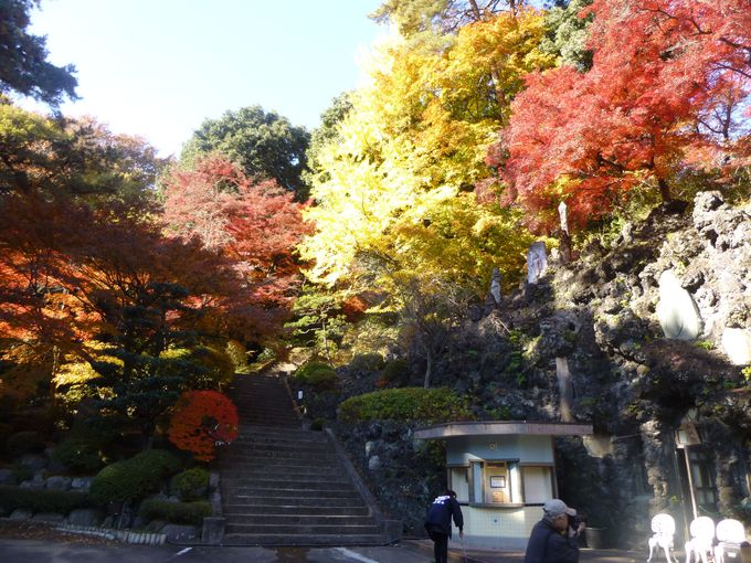 紅葉&神秘の観音像のコラボがイイ!北関東一の回遊式庭園「徳明園」(群馬)