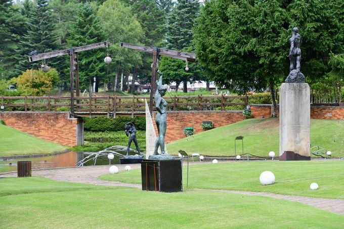 4種類のお風呂と彫刻公園