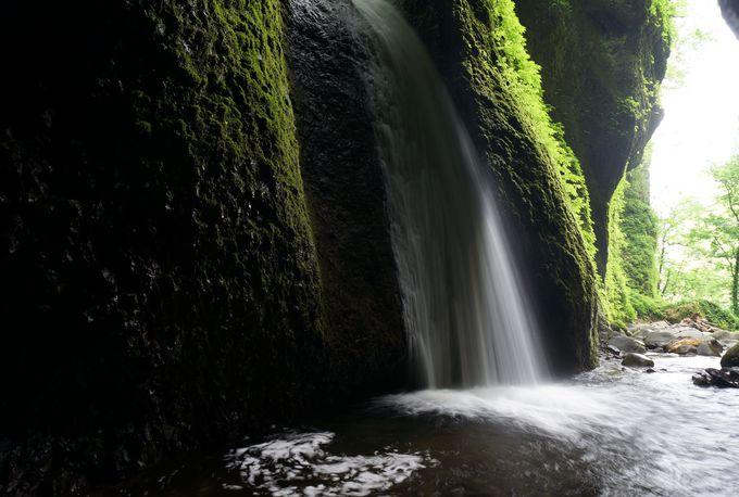 洞窟の奥に落ちる滝