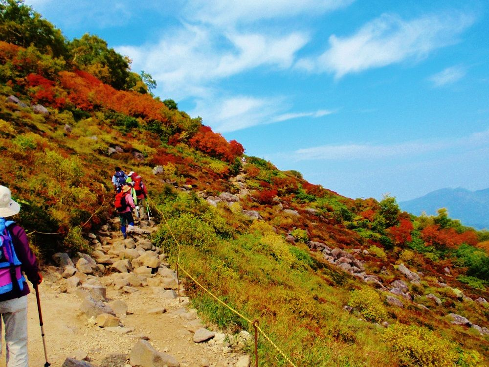 赤岳山頂までは紅葉を眺めながらロープ沿いに歩こう