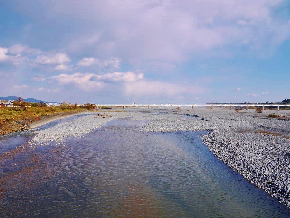 美しい大井川の流れ