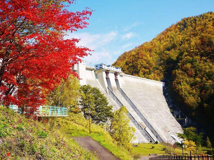 紅葉の美しさとダムの迫力が待っている秋の「定山渓ダム下流園地」