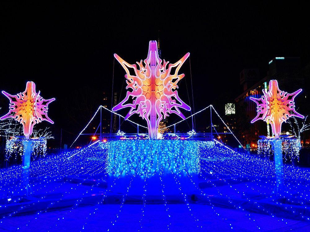 冬の噴水は光り輝く「Snow Crystal」