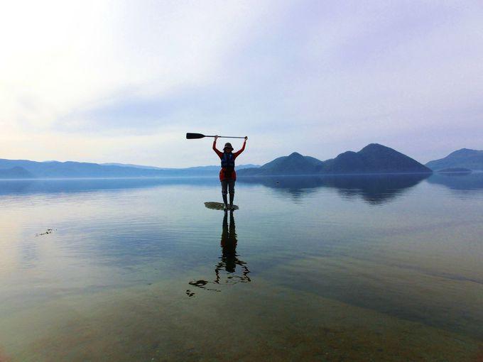 洞爺湖の湖面に立つ!まるでウユニ湖!