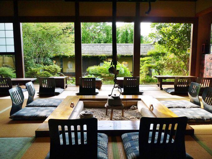 温泉のあとは日本庭園を眺めながら癒しの時間