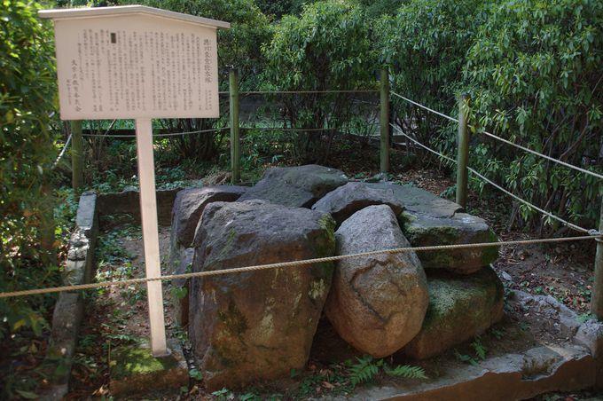岩の下に埋められているのは、徳川家宣の胞衣塚(えなづか)