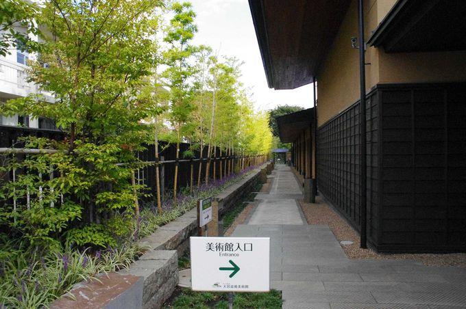 竹が伸びる小道を通り、美術館の入り口へ
