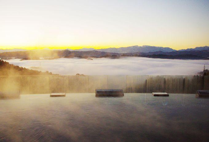 雲海のベストポジションは、露天風呂!
