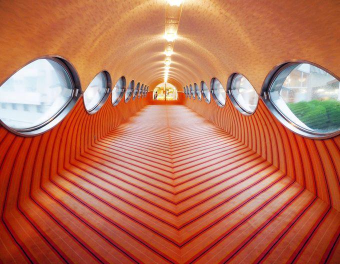 さあ、異空間へ!近未来のオーラ漂う渡り廊下