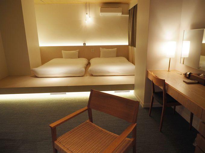 シンプルな客室。限定1室のスイートルームも新登場