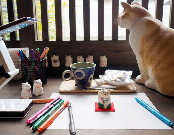 お茶しながらオリジナル招き猫が作れるカフェ「猫衛門」