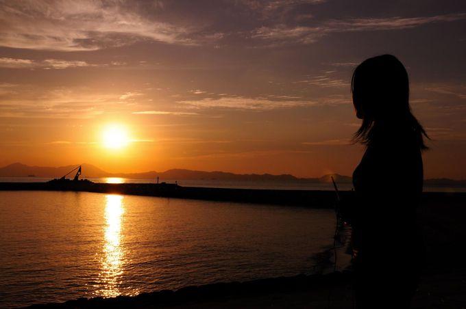 沈みゆく夕陽は絶景!
