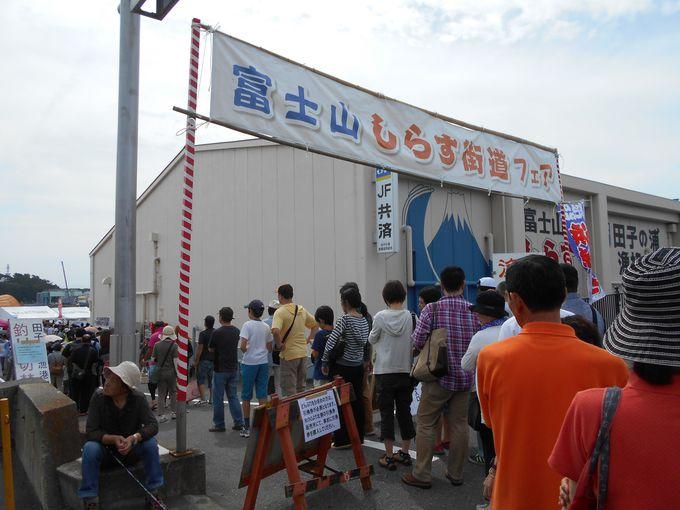 漁港自慢!の抜群な鮮度を誇るしらすを求め、会場前から長い列