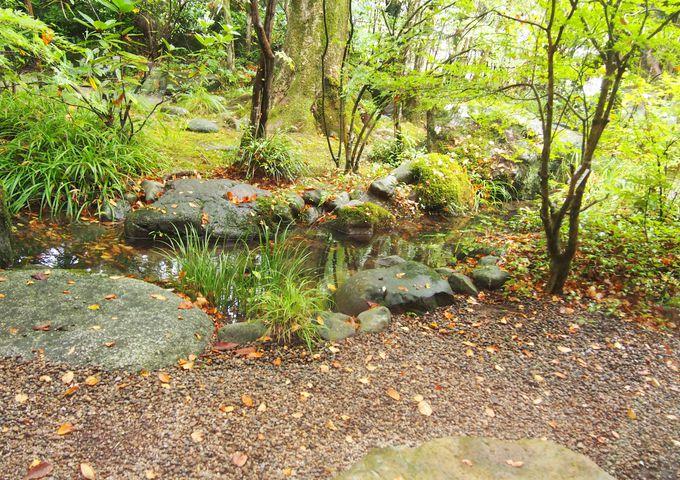 古事記に登場する伝説の川が流れる「海潮荘」の庭園