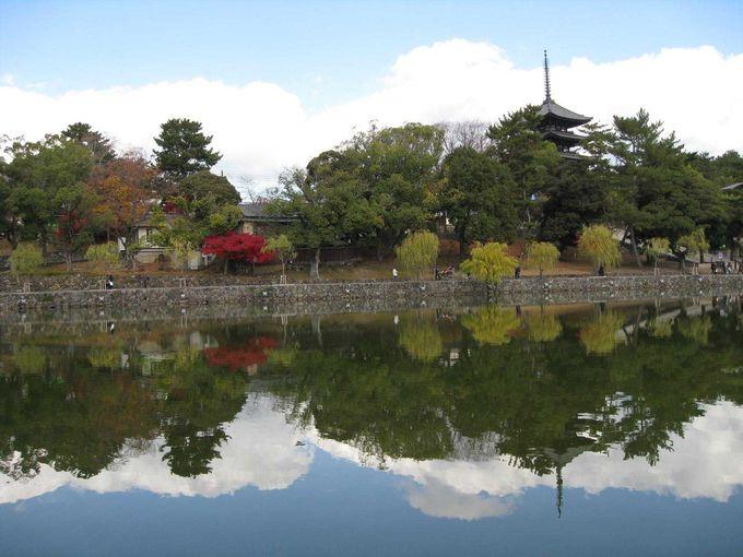 猿沢池に映る、五重塔