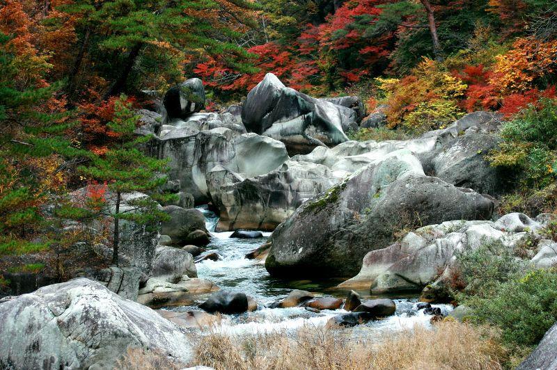 白い岩肌と木々の色彩が織り成す渓谷美!山梨県「御嶽昇仙峡」の絶景紅葉