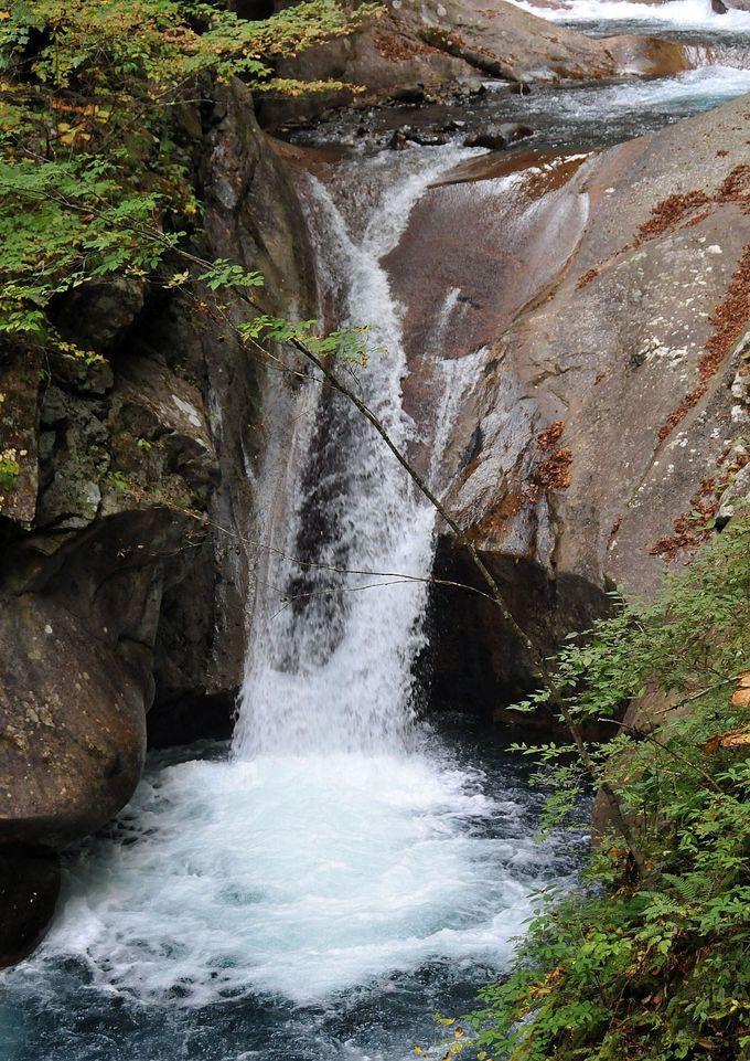 川沿いの滑りやすい細い道。大小数々の滝に感動しつつ、足下に注意して歩こう!
