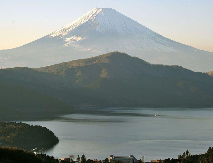 南面は北風の強い寒い日に見ると、雲が出にくく山頂まで眺望可能。芦ノ湖の真後ろに聳える富士を見よう。