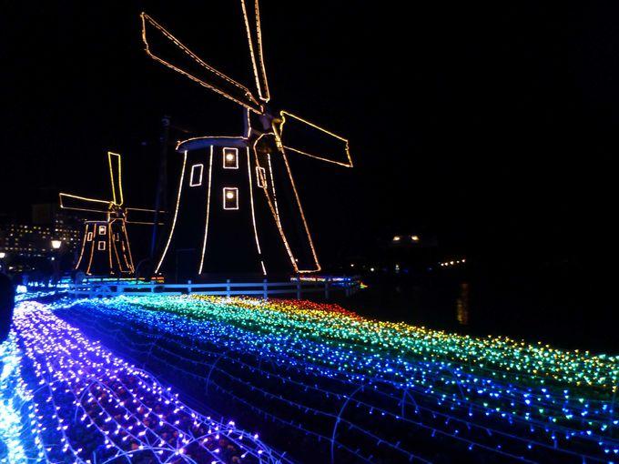 虹色に輝く風車のエリア「レインボーフラワーガーデン」