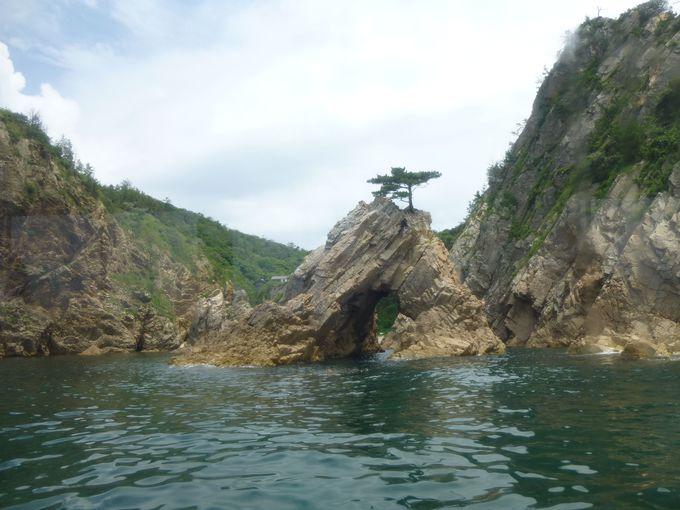 まずは浦富海岸からスタート。遊覧船に乗って、「地質の博物館」を楽しもう。