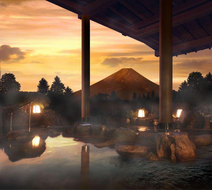 温泉に入りながら富士山!日ごろの疲れを癒そう