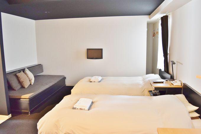 寝具にこだわり。シンプルで清潔なホテル