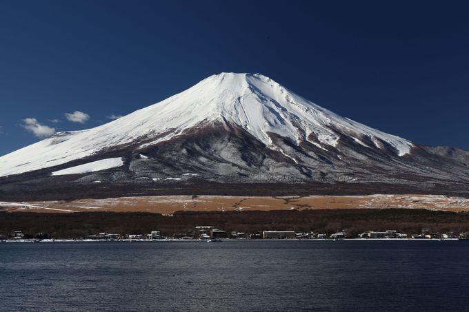 条件がよければ逆さ富士も望める山中湖北岸の駐車場