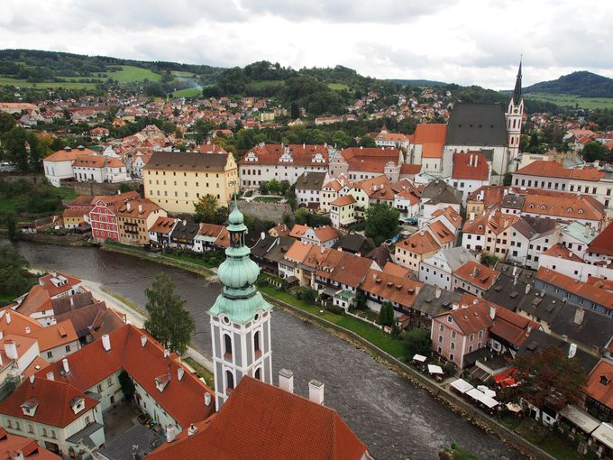 城の塔から眺める街の風景