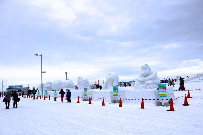 市民参加のスノーオブジェを鑑賞!