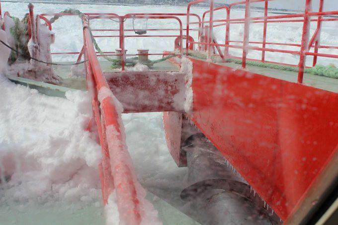 迫力満点・2本のスクリューで氷を砕きます