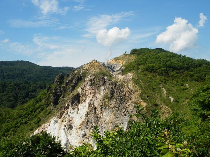 登別温泉からの旅行者が立ち寄る、活火山「日和山」展望台