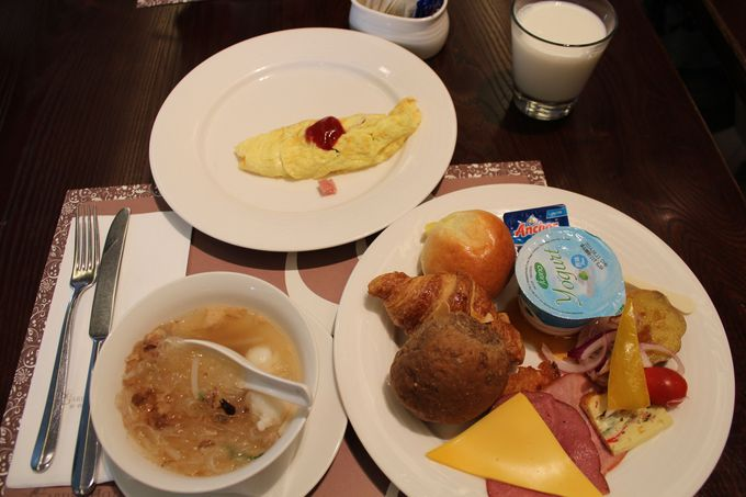 朝食ビュッフェは種類が豊富