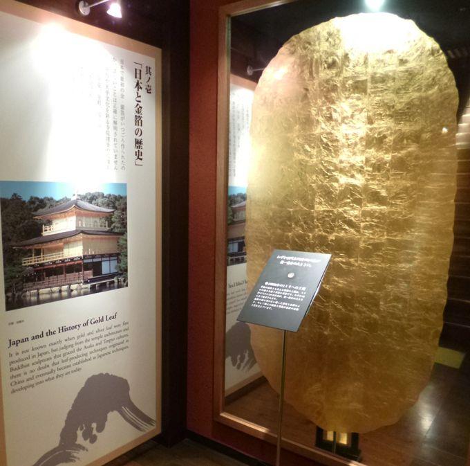 金箔の歴史や技術がわかりやすく解説された展示、金箔体験もできる