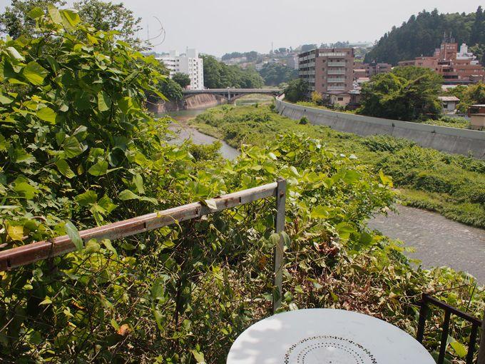 木陰のテラス席で、杜の都、仙台を流れる広瀬川を眺めながら