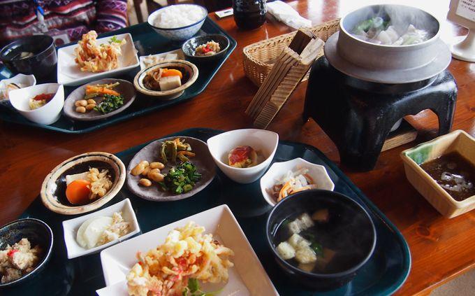 地元の新鮮野菜を使った伝統料理、独自の創作料理を提供
