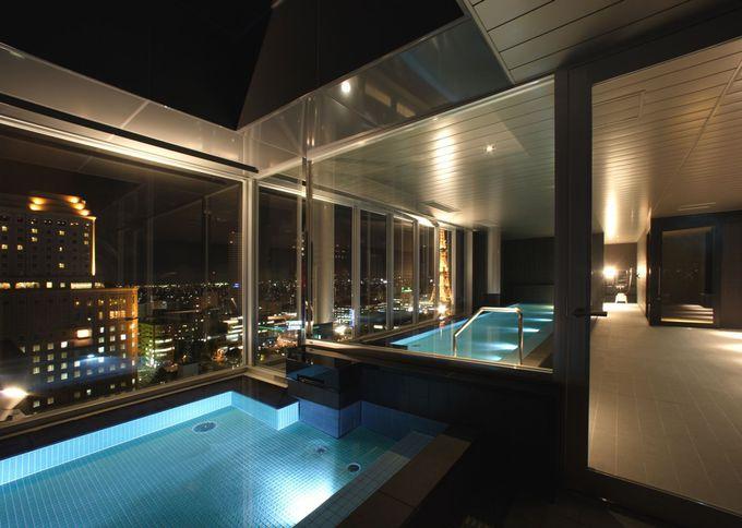 最上階の大浴場から札幌の夜景を一望!露天では星空も楽しんで