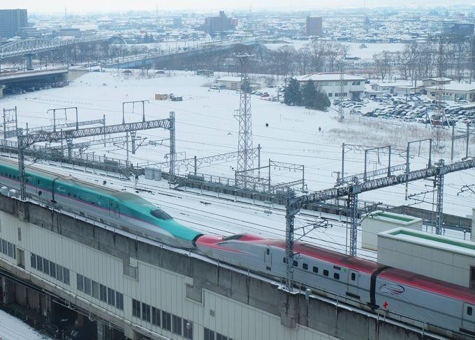 目の前に東北・秋田新幹線!連結部も連写撮影でバッチリ!