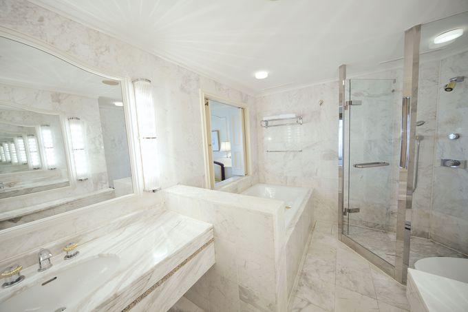 バスルームもゴージャス!バスジェル完備で泡風呂も満喫!