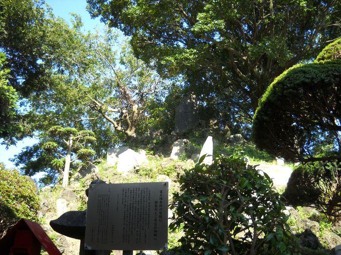 社殿裏には、県内でも有数の「富士塚」がある