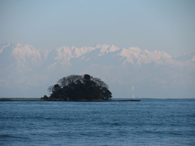 冬のパノラマ、海に浮かぶ雪の北アルプス!発見!!