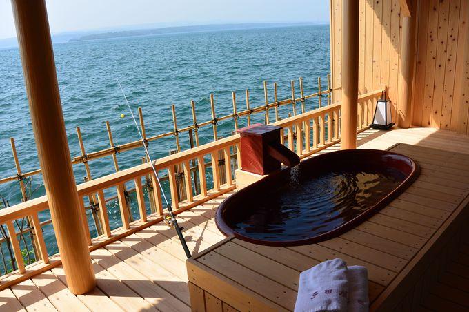 露天風呂と釣りを同時に楽しめる客室