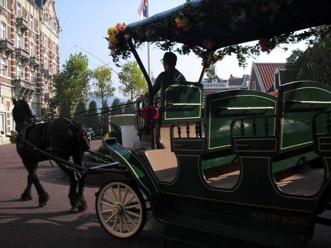 園内の移動はレンタサイクルがおすすめ☆馬車でお迎えも。