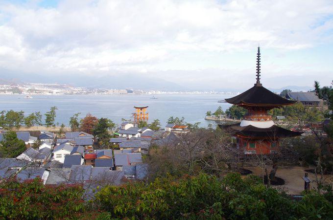 多宝塔越しの風景を撮る。