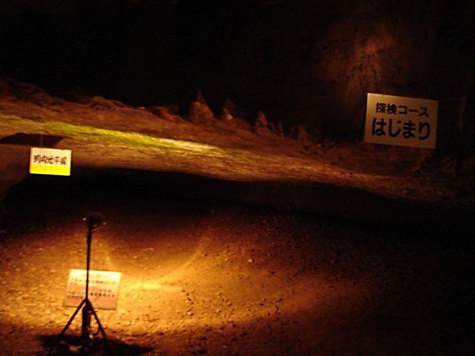 真っ暗闇の中を進む「景清洞探検コース」