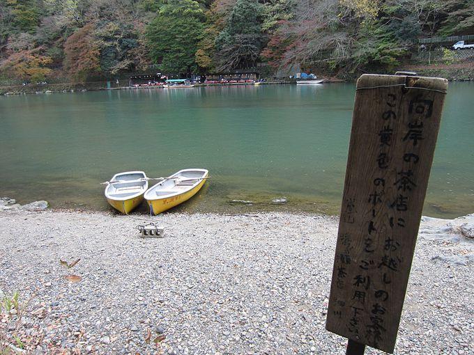桂川の向こう岸の琴ヶ瀬茶屋