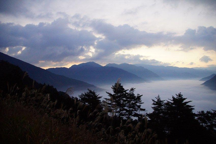 春と秋に出現する吉野川大歩危峡を覆う川霧