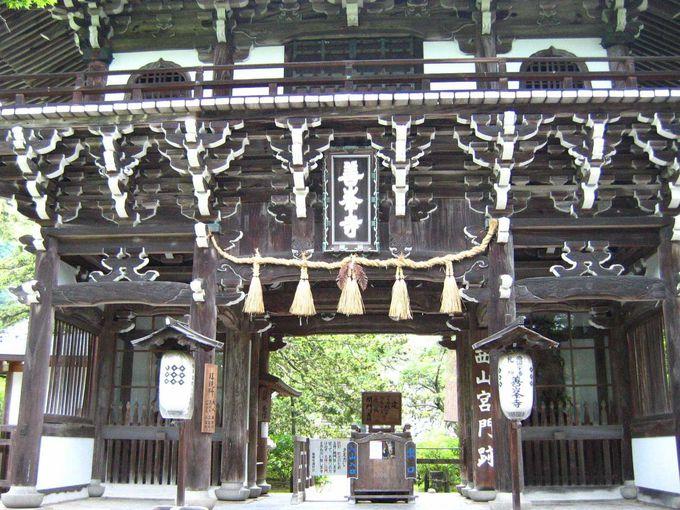 山肌に聳え立つ寺院、善峯寺