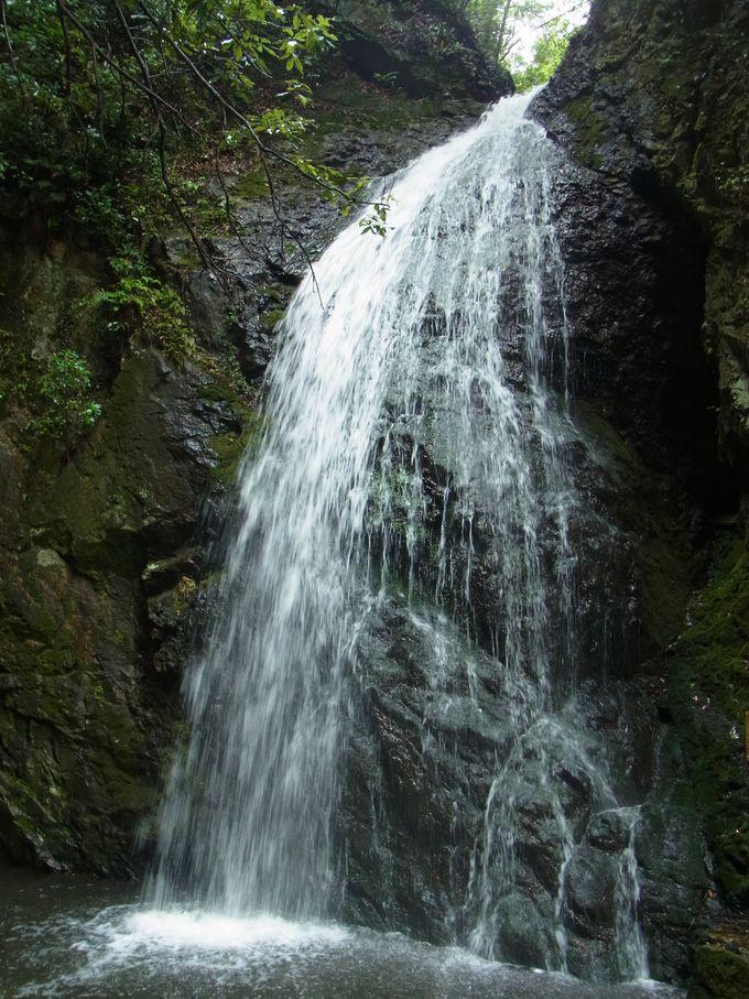 かくれ滝は町中の小流れのすぐ奥に
