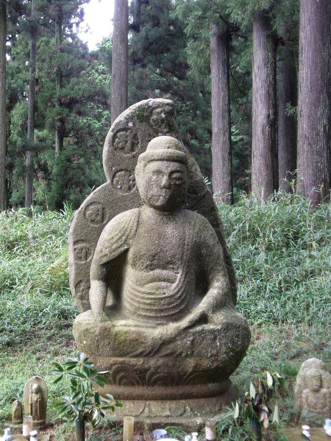 釈迦堂の裏山の林の中にある弥勒座像